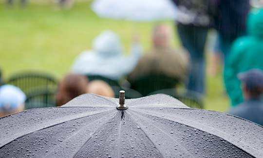 Event Management Checklist – Event cancellation causes: rain